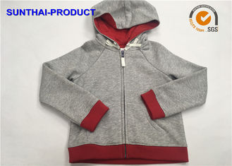 Cina Heather Gray Kids Hooded Jacket 2 Layers Raglan Lengan Panjang Balita Girl Hooded Jacket pemasok