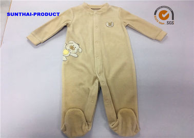 Puppy Applique Unisex Baby Pram Suit Ring Snap Penutupan Velour Coverall